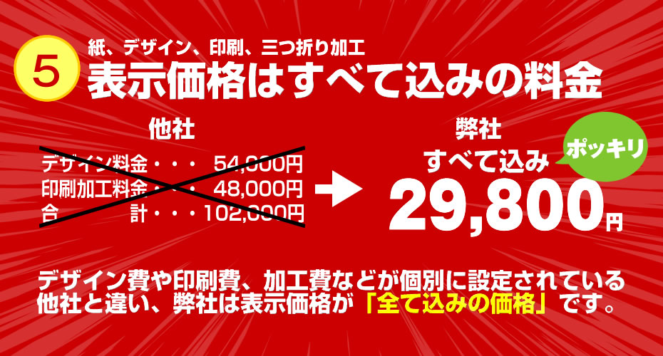 A4三つ折りパンフレット7周年記念商品案内5